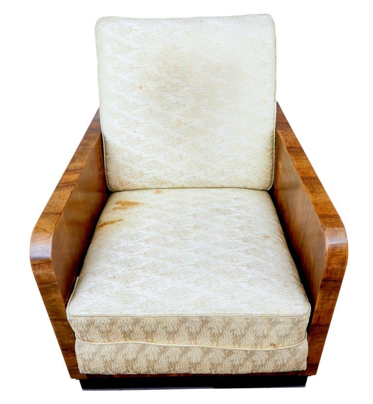 Pair of Italian Art Deco Inspired Walnut Armchairs For Sale 1