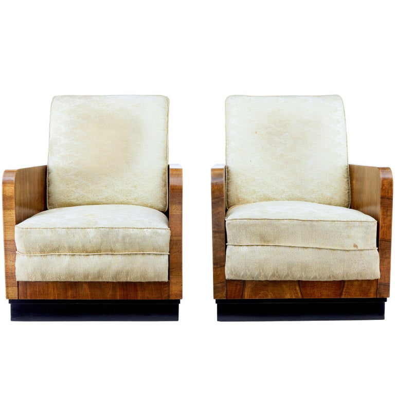 Pair of Italian Art Deco Inspired Walnut Armchairs For Sale