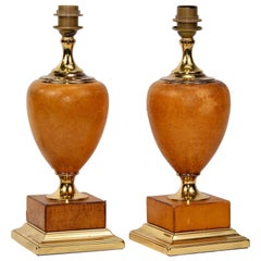 Pair of Italian Art Deco Leather and Brass Lamps