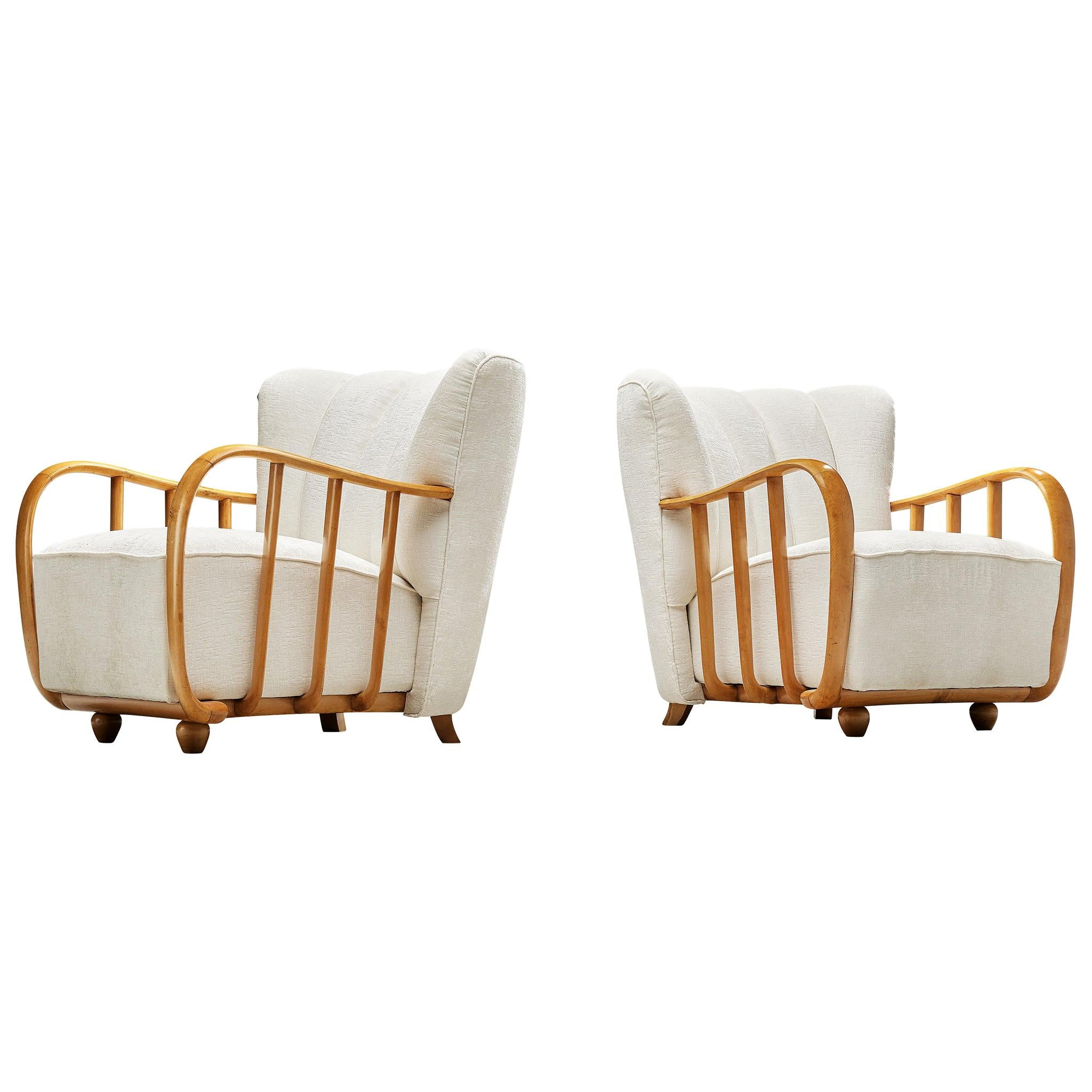 Pair of Italian Art Deco Lounge Chairs