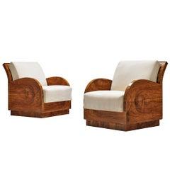Pair of Italian Art Deco Lounge Chairs in Walnut