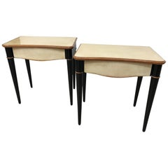 Pair of Italian Art Deco Maple and Parchment Nightstands, 1940s