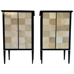 Pair of Italian Art Deco Parchment Cabinets, 1950s
