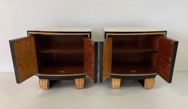Pair of Italian Art Deco Parchment Nightstands, 1940s For Sale 2