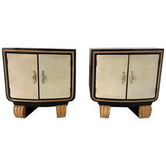 Pair of Italian Art Deco Parchment Nightstands, 1940s