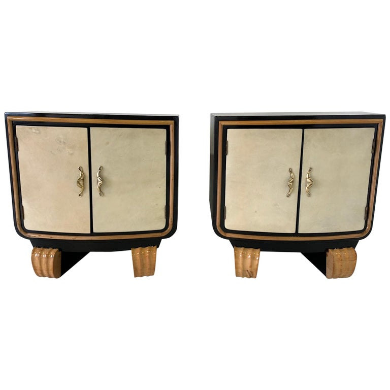 Pair of Italian Art Deco Parchment Nightstands, 1940s For Sale