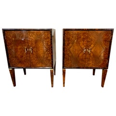 Pair of Italian Art Deco Period Walnut and Rosewood Bar Cabinets