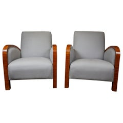 Pair of Italian Art Deco Walnut Club Chairs