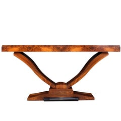 Pair of Italian Art Deco Walnut Console Tables, circa 1930