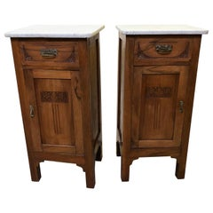 Pair of Italian Art Nouveau Liberty Walnut Nightstands Carrara Marble