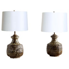 Pair of Italian Art Pottery Lamps by Alvino Bagni for Raymor