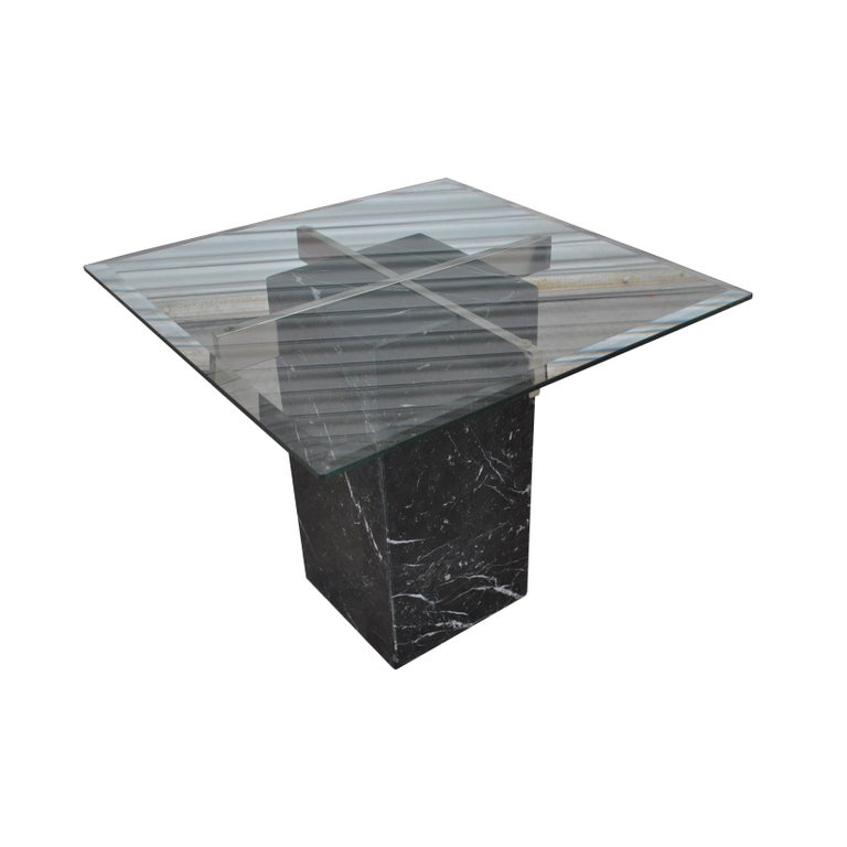 Late 20th Century Pair of Italian Artedi Marble Glass Side Tables For Sale