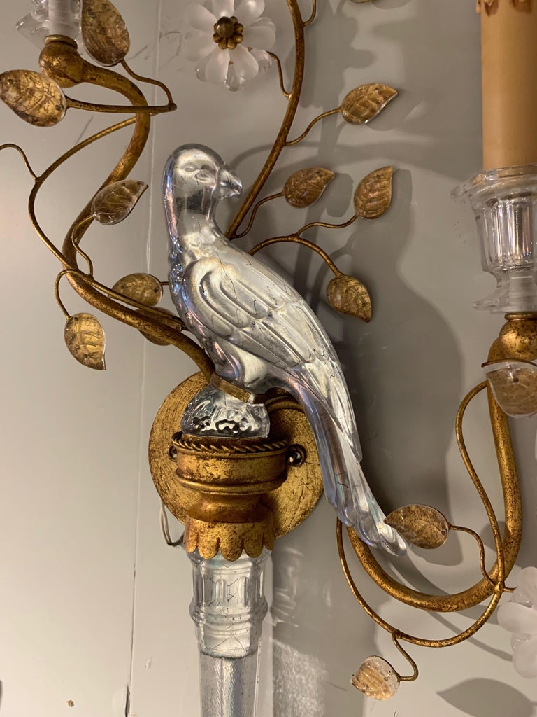 Lovely pair of Italian Baguès style sconces. Each sconce has 2 lights and beautiful glass birds and flowers. Wired and ready for installation.