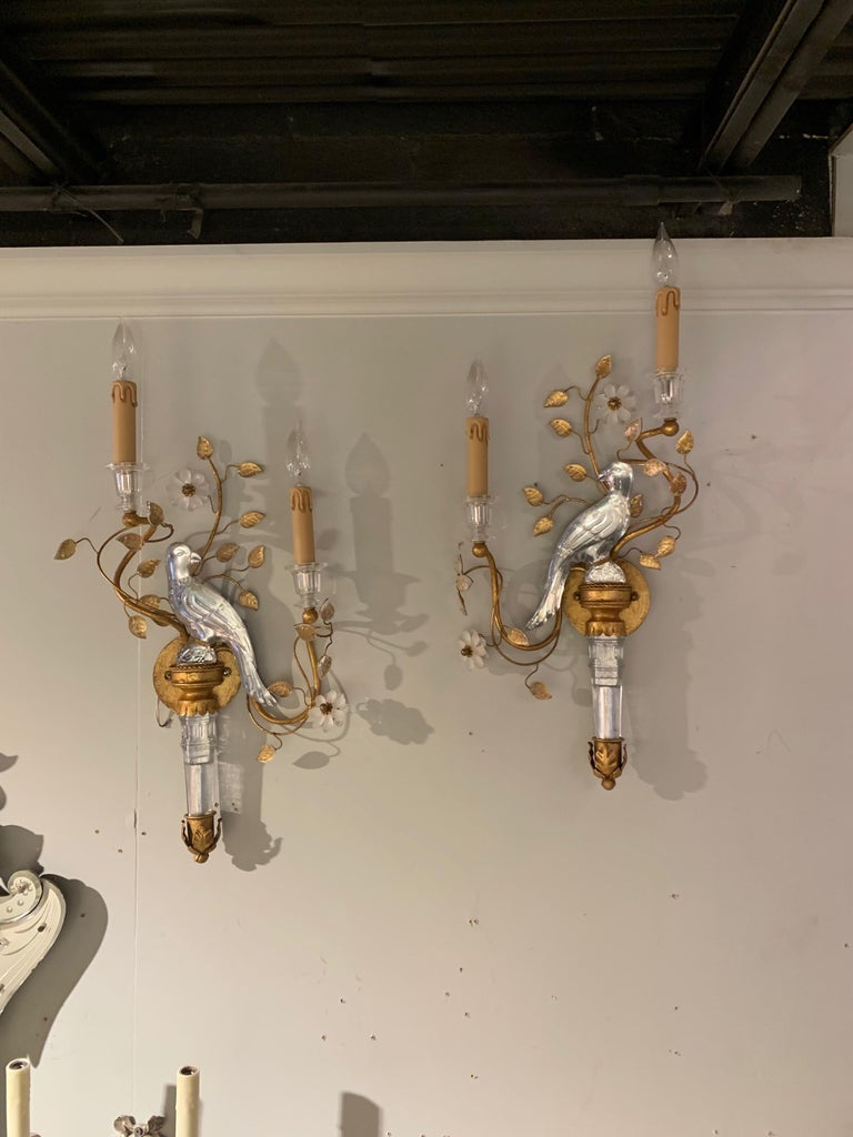 Metal Pair of Italian Baguès Style Glass and Tole Sconces For Sale