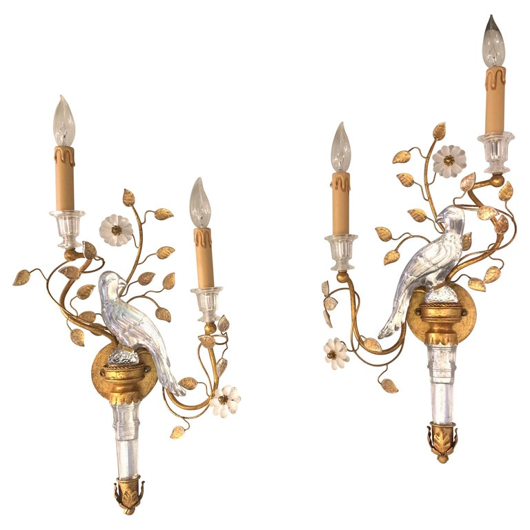 Pair of Italian Baguès Style Glass and Tole Sconces For Sale