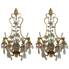 Pair of Italian Baguès Style Rock Crystal and Gilt Metal Sconces