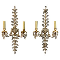 Pair of Italian Bagues Style Rock Crystal Wall Sconces