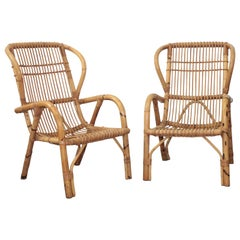 Pair of Italian Bamboo Armchairs in the Style of Tito Agnoli, 1970s