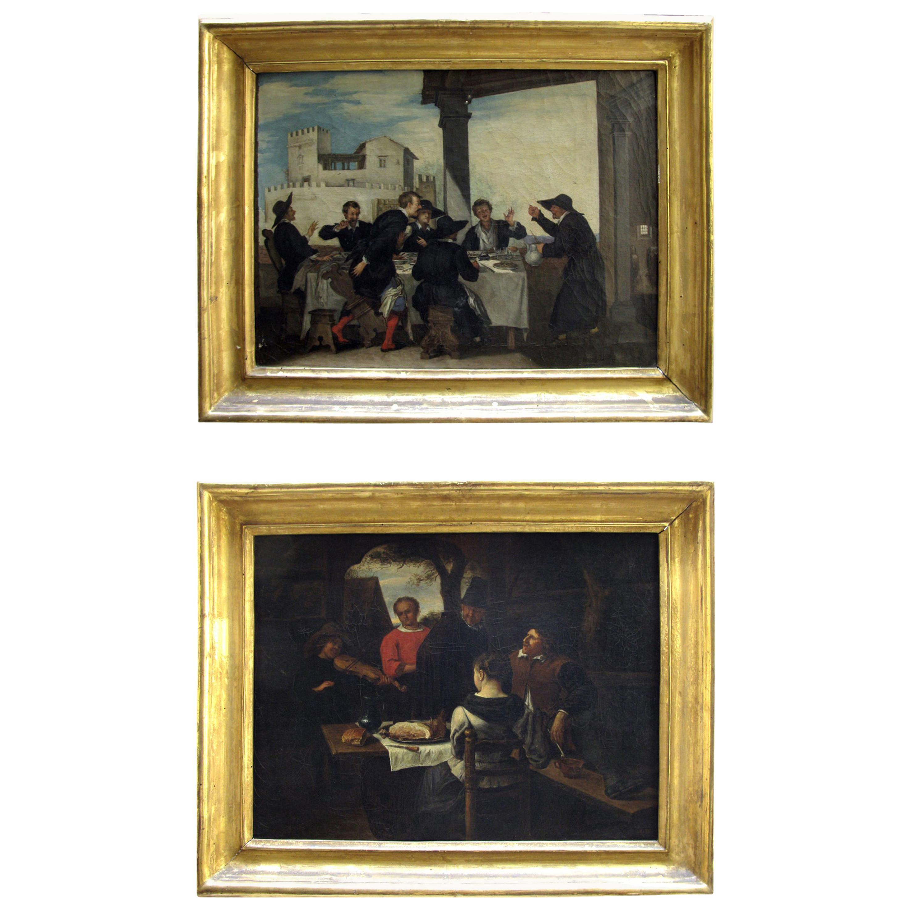 Pair of Italian Banquets Genre Paintings with Figures, Mid-19th Century