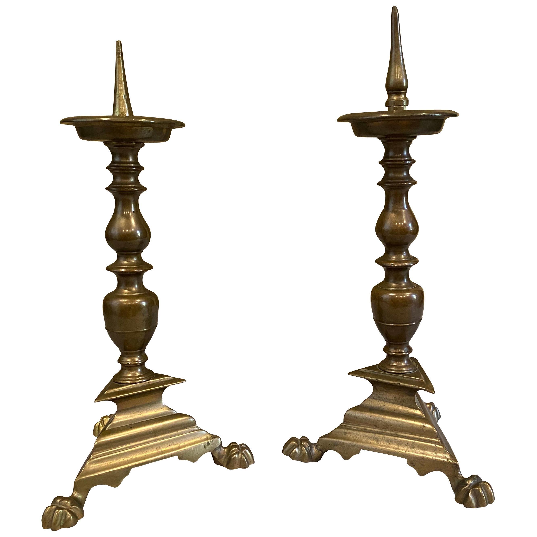 Pair of Italian Baroque Bronze Pricket Candlesticks