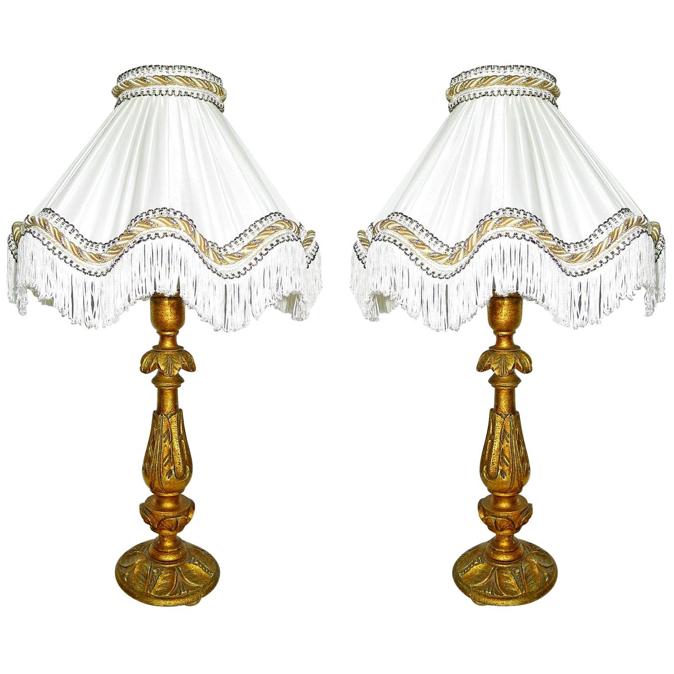 Pair of Italian Baroque Carved Giltwood Candlesticks Torchères Ivory Table Lamps