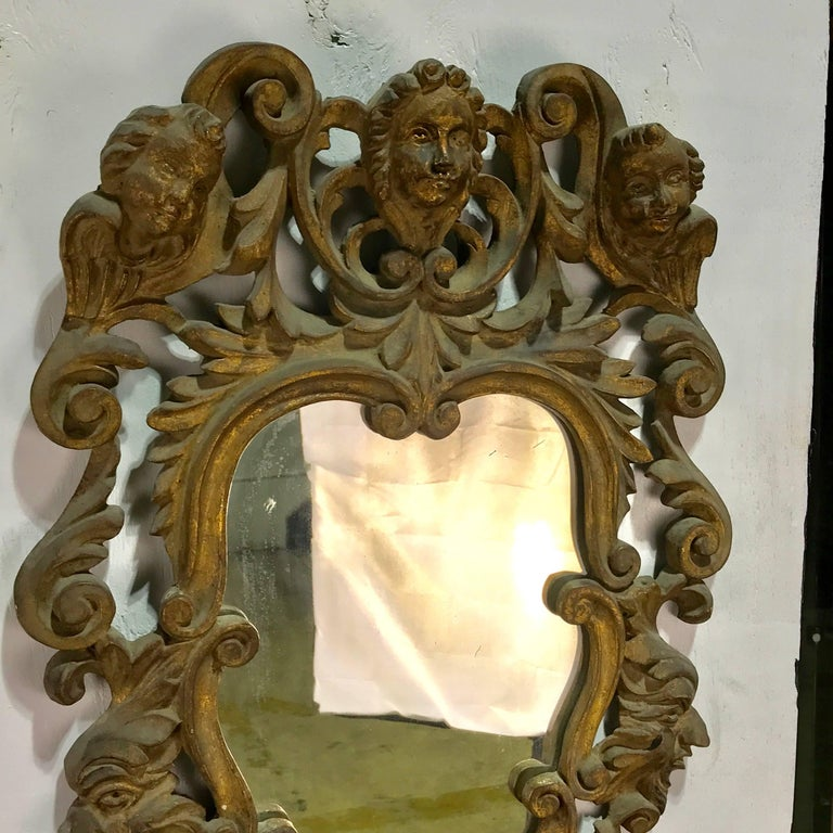 Baroque Revival Pair of Italian Baroque Carved Wood Mirrors For Sale
