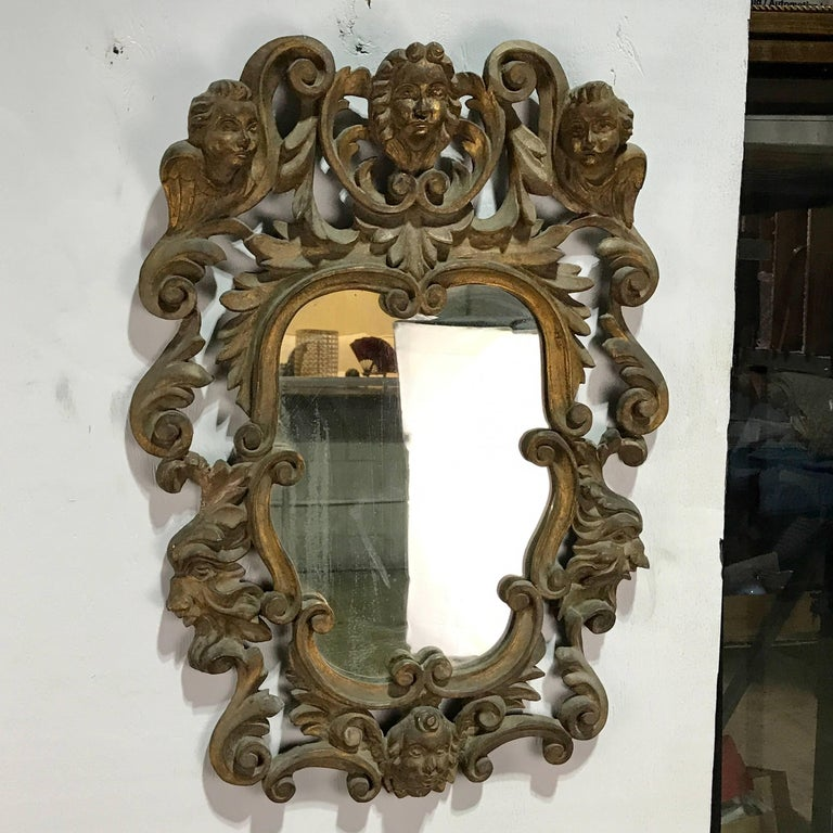 Polychromed Pair of Italian Baroque Carved Wood Mirrors For Sale