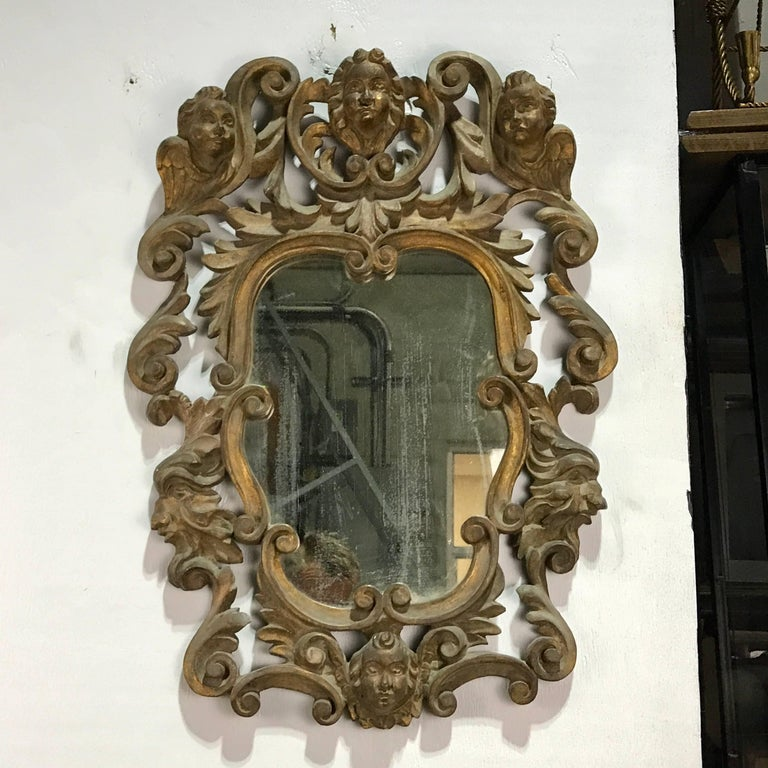Pair of Italian Baroque Carved Wood Mirrors In Good Condition For Sale In West Palm Beach, FL