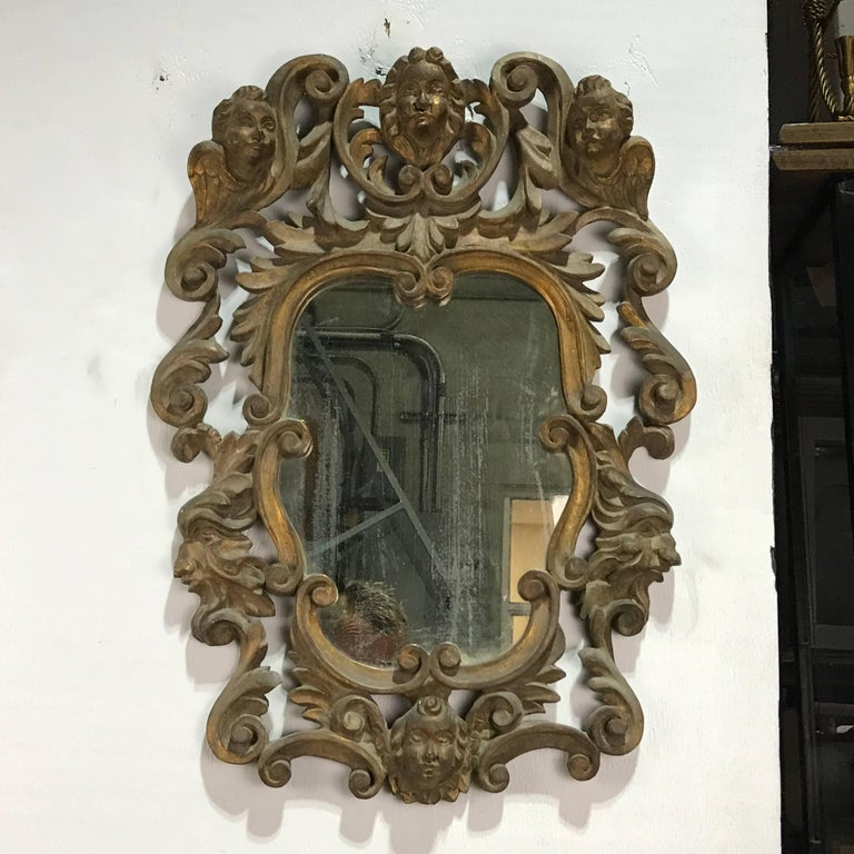 19th Century Pair of Italian Baroque Carved Wood Mirrors For Sale