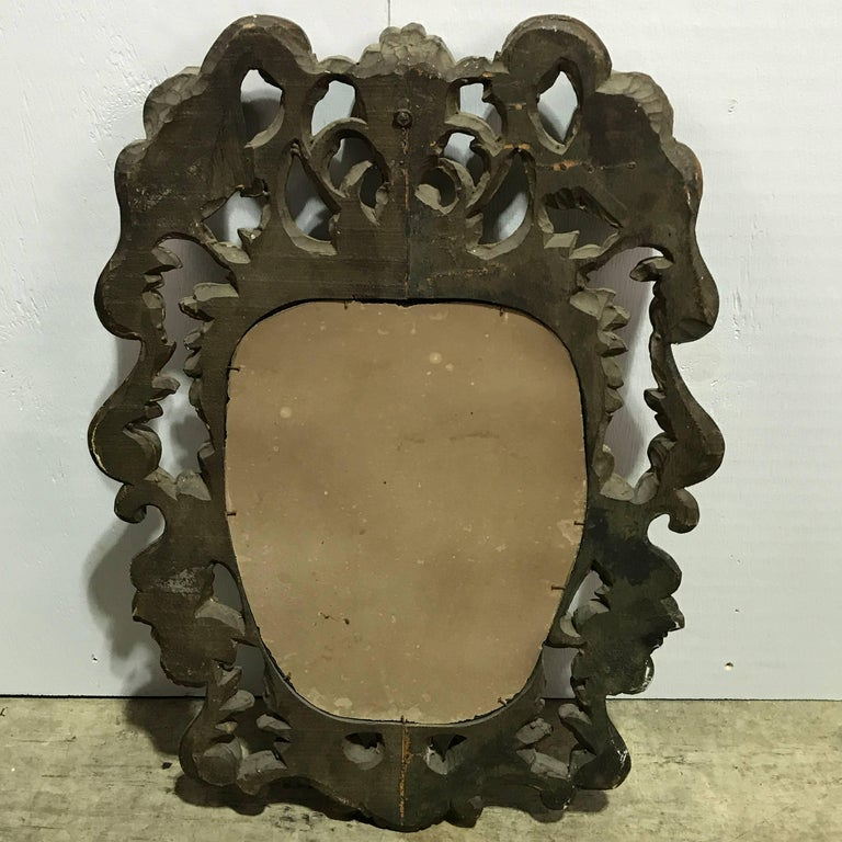 Pair of Italian Baroque Carved Wood Mirrors For Sale 1