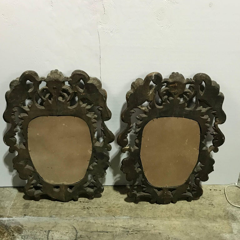 Pair of Italian Baroque Carved Wood Mirrors For Sale 2