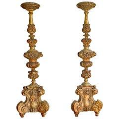 Pair of Italian Baroque Floor Torcheres