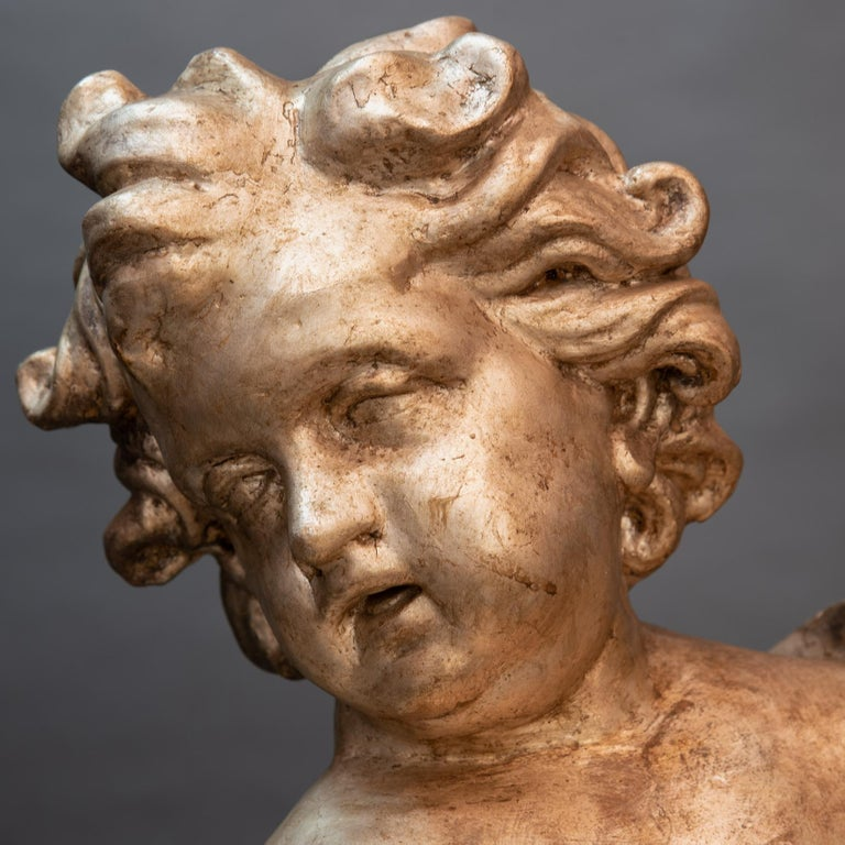 18th Century and Earlier Pair of Italian Baroque Sculptures Period Papier Mâché Angels For Sale