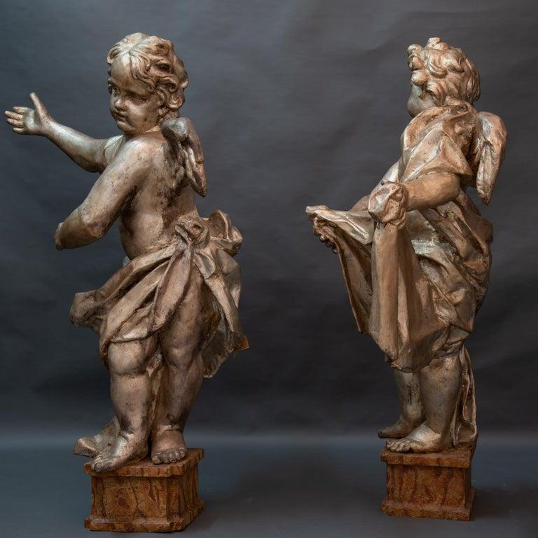 Other Pair of Italian Baroque Sculptures Period Papier Mâché Angels For Sale