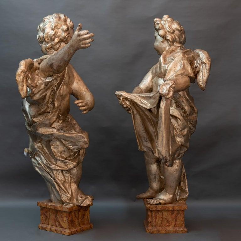 Pair of Italian Baroque Sculptures Period Papier Mâché Angels For Sale 2