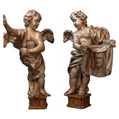 Pair of Italian Baroque Period Papier Mâché Angels