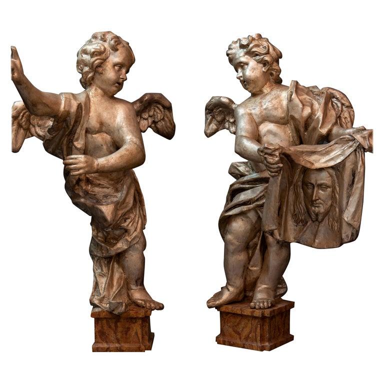 Pair of Italian Baroque Sculptures Period Papier Mâché Angels For Sale