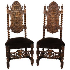 Pair of Italian Baroque Solomonic Style Walnut Carved Side Chairs