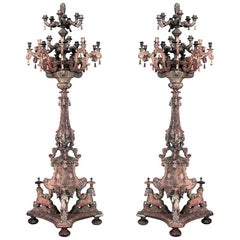 Pair of Italian Baroque Style 24 Arm Torchiere