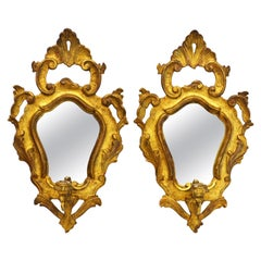 Pair of Italian Baroque Style Carved Giltwood Mirror Wall Sconces, Mid 20th C.