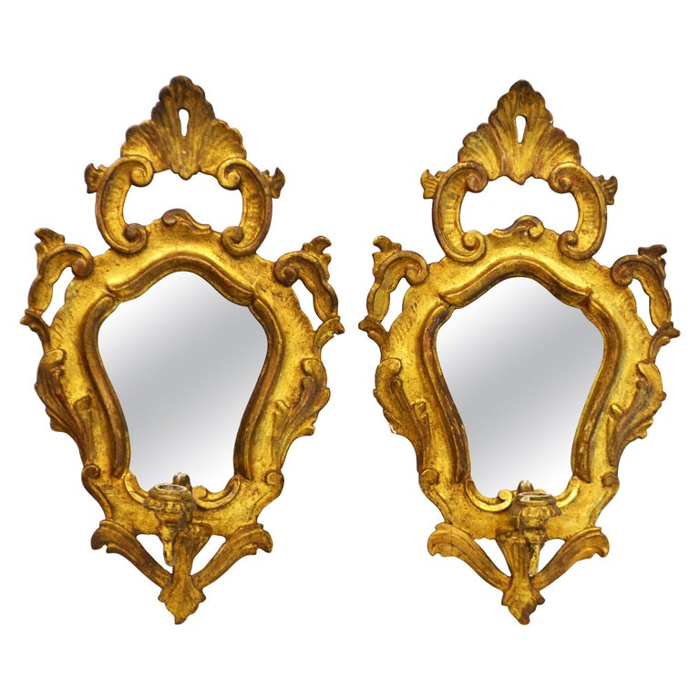 Pair of Italian Baroque Style Carved Giltwood Mirror Wall Sconces, Mid 20th C. For Sale