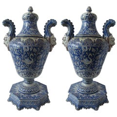 Pair of Italian Baroque Style Covered Vases on Stands