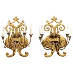 Pair of Italian Baroque Style Gilt Tole Sconces, 19th Century