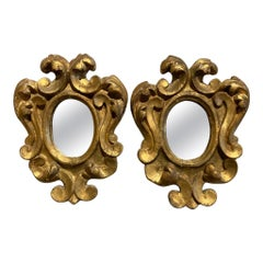 Pair of Italian Baroque Style Gilt Wood Small Scale Mirrors
