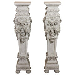 Pair of Italian Baroque Style Hand Carved Wood Pedestals Painted White