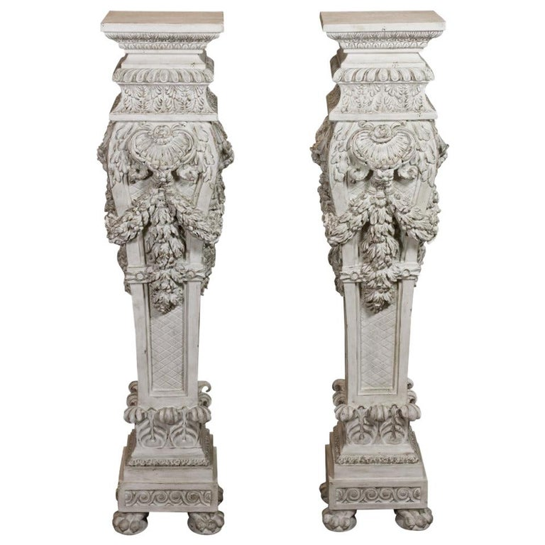 Pair of Italian Baroque Style Hand Carved Wood Pedestals Painted White For Sale