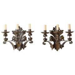 Pair of Italian Baroque Style Painted and Patinated Metal 3-Light Sconces