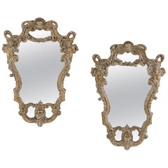 Pair of Italian Baroque Style Silver Mirrors, 19th Century