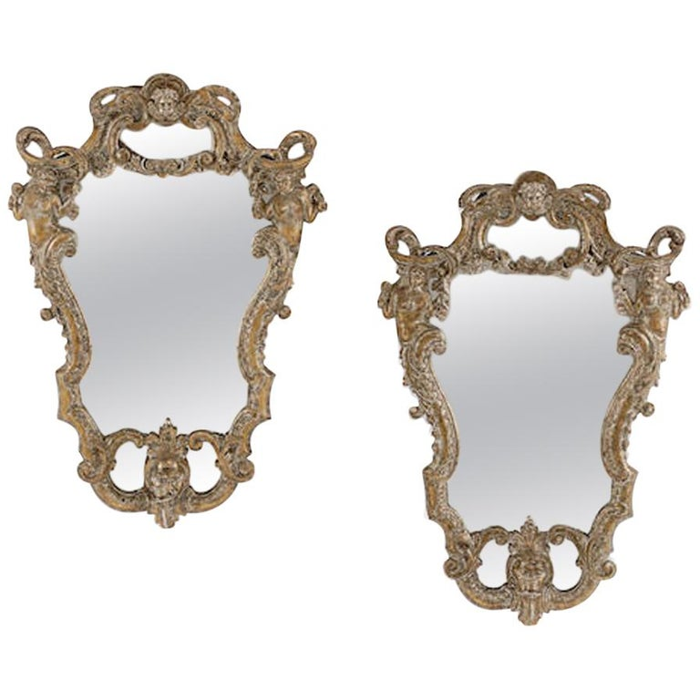 Pair of Italian Baroque Style Silver Mirrors, 19th Century For Sale