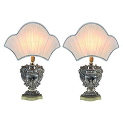 Pair of Italian Baroque Style Silvered Repousse Table Lamps, Late 20th Century